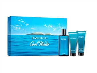 Coffret DAVIDOFF COOL WATER para Homem: Eau de Toilette de 125ml, After Shave Balm de 75ml e Shower Gel de 75ml por 44€. PORTES INCLUÍDOS.