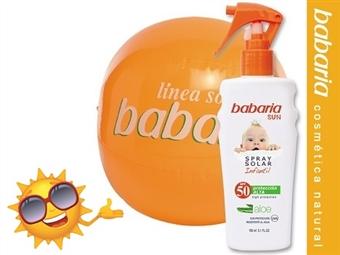 Protetor Solar Infantil Spray SPF50 de 150 ml e Bola de Praia da BABARIA por 15€. Máxima proteção solar com Aloe Vera. ENVIO IMEDIATO e PORTES INCLUIDOS.