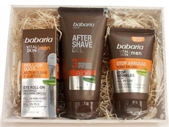 Caixa Vital Skin para HOMEM da BABARIA com After Shave Gel 3 Efeitos Aloe Vera, Stop Rugas e Anti-Olheiras por 15€. ENVIO IMEDIATO e PORTES INCLUIDOS.