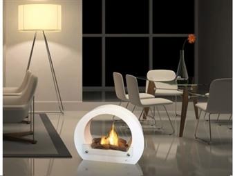 Biolareira Grande em Branco por 255€. Chamas e calor sem odor nem cinzas para uso em ambiente interno e ar livre. PORTES INCLUÍDOS.