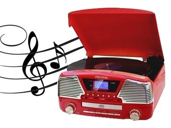 Gira-discos Vintage Vermelho: Colunas Integradas, Bluetooth, Rádio, MP3, Suporta Cartões SD, USB e Comando por 129€. PORTES INCLUÍDOS.