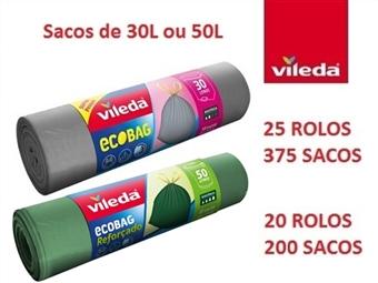 20 ou 25 Rolos de Sacos de Lixo Ecobag da VILEDA de 30 ou 50 Litros por 34€ com fecho fácil, dupla camada e anti-pingos. PORTES INCLUIDOS.