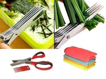 Tesoura Multi-Lâmina para Cozinhar com OFERTA de 4 Panos de Microfibra por 14.90€. Ideal para Picar Tudo o que Precisa. ENVIO: 48H. PORTES INCLUÍDOS.