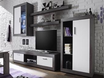 Conjunto de Móveis de Sala em Cinza e Branco por 370€. Decore a sua sala com uma linha onde a arte e a tecnologia se unem. PORTES INCLUÍDOS.