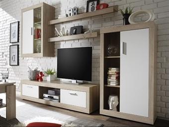 Conjunto de Móveis de Sala em Carvalho e Branco por 370€. Decore a sua sala com uma linha onde a arte e a tecnologia se unem. PORTES INCLUÍDOS.