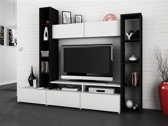 Móveis de Sala em Wengue e Branco por 275€. Um design exclusivo que combina arte e tecnologia para a sua sala. PORTES INCLUÍDOS.