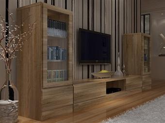 Móveis de Sala em Carvalho Claro por 215€. Um design urbano e espaçoso para decorar a sua sala. PORTES INCLUÍDOS.