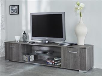 Móvel de TV com 2 Portas e 2 Prateleiras em Carvalho Prata por 190€. Um design para que viva as emoções da 7ª arte na sua sala. PORTES INCLUÍDOS.