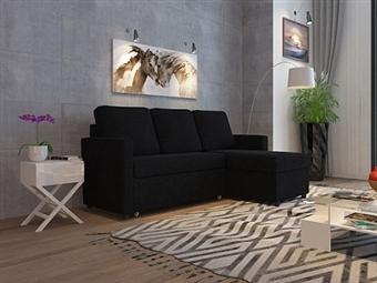 Sofá-Cama com Chaise-Longue e Arrumação de 3 Lugares em Tecido em Preto por 479€. Um modelo prático e robusto para a sua sala. PORTES INCLUÍDOS.