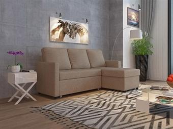 Sofá-Cama com Chaise-Longue e Arrumação de 3 Lugares em Tecido em Bege por 479€. Um modelo prático e robusto para a sua sala. PORTES INCLUÍDOS.