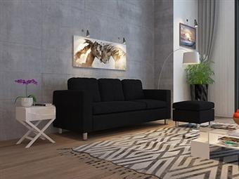 Sofá com Chaise-Longue de 3 Lugares em Tecido em Preto por 349€. Um modelo dinâmico e urbano para a sua sala. PORTES INCLUÍDOS.