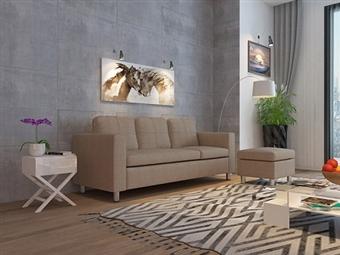 Sofá com Chaise-Longue de 3 Lugares em Tecido em Bege por 349€. Um modelo dinâmico e urbano para a sua sala. PORTES INCLUÍDOS.