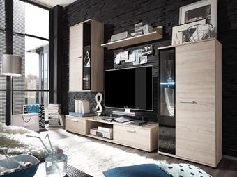Móveis de Sala em Carvalho por 329€. Um modelo elegante que conjuga arte e tecnologia para a sua sala. PORTES INCLUÍDOS.
