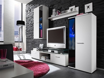 Conjunto de Móveis de Sala em Branco por 329€. Um modelo elegante que conjuga arte e tecnologia para a sua sala. PORTES INCLUÍDOS.