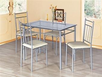 Mesa de Refeições com Tampo em Vidro e 4 Cadeiras em Polipele em 2 Cores à Escolha por 159€. Uma excelente solução para sua casa. PORTES INCLUÍDOS.