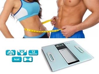 Balança Digital: Análise de Peso, Calorias, Líquidos, Massa Muscular, Massa Óssea e Memória por 29.99€. PORTES INCLUÍDOS.