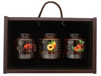 Caixa de Madeira Especial Gourmet I da Casa da Prisca: Compostas por 3 Deliciosos Produtos por 29.90€. PORTES INCLUÍDOS.