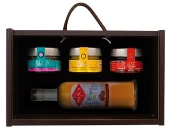 Caixa de Madeira Especial Seduction I da Casa da Prisca: Compostas por 4 Deliciosos Produtos por 29.90€. PORTES INCLUÍDOS.