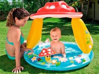 Piscina Insuflável com Guarda Sol Cogumelo para Criança por 24€. PORTES INCLUÍDOS.
