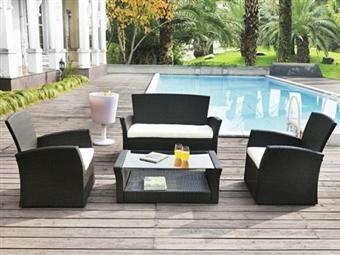 Mobília de Jardim ou Sala em Rattan com Sofá de 2 Lugares, Mesa de Centro e 2 Sofás de 1 Lugar por 289€. ENVIO: 5 DIAS. PORTES INCLUIDOS.