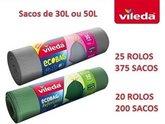 20 ou 25 Rolos de Sacos de Lixo Ecobag da VILEDA de 30 ou 50 Litros desde 32€ com fecho fácil, dupla camada e anti-pingos. ENVIO IMEDIATO e PORTES INCLUIDOS.