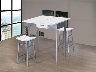 Mesa Extensível de 40-80cm para Máximo de 2 Pessoas e 2 Bancos em Branco e Prata por 125€. Mais espaço e prático para a sua cozinha. PORTES INCLUÍDOS.