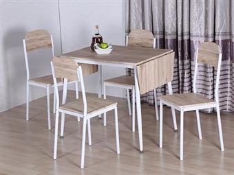 Mesa de Refeições Extensível 90-140cm para Máximo de 4 Pessoas e 4 Cadeiras em Carvalho Claro por 173€. Reúna a família e amigos. PORTES INCLUÍDOS.