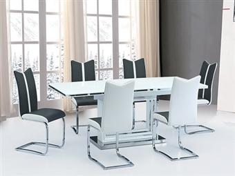 Mesa Extensível de 160-200cm para Máximo de 8 Pessoas em Branco por 365€. Reúna a sua família e amigos na sua sala. PORTES INCLUÍDOS.