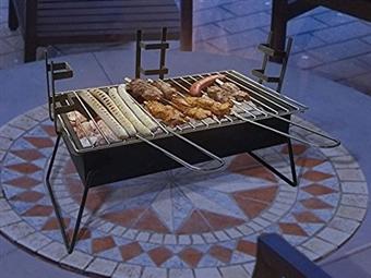 Barbecue a Carvão Portátil em Aço com 3 Alturas Diferentes para Grelhar por 36€. Ideal para levá-lo para onde quiser. PORTES INCLUÍDOS.