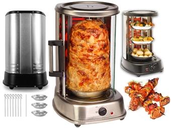Grelhador Vertical com Espeto Rotativo 360º e Acesso Fácil: Pode Preparar Frango Assado, Kebab, Espetadas e muito mais por 99.90€. PORTES INCLUÍDOS.