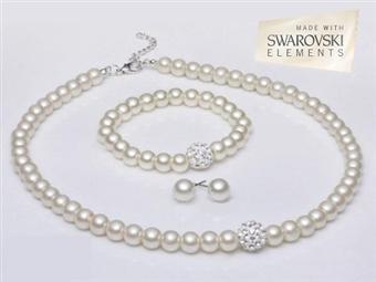 Conjunto WHITE PEARLS com SWAROVSKI ELEMENTS: Composto por Colar, Pulseira e Brincos por 16€. Evoque Glamour! ENVIO IMEDIATO e PORTES INCLUÍDOS.