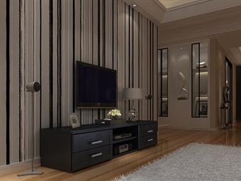 Móvel de TV com 4 Gavetas e 2 Prateleiras em Wengue por 135€. Um design moderno para viver as emoções da 7ª arte na sua sala. PORTES INCLUÍDOS.