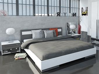 Cama de Casal e 2 Mesas de Cabeceira em Branco e Cinza por 265€. Um design europeu cheio de personalidade e estilo para o quarto. PORTES INCLUÍDOS.