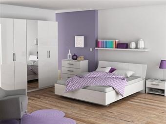 Cama de Casal, 2 Mesas de Cabeceira e Cómoda em Branco por 475€. Um design francês para um ambiente com glamour. PORTES INCLUÍDOS.
