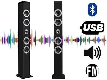 Torre de Som de 20W RMS com Bluetooth, Rádio FM Incorporado, Função Mãos-Livres e USB por 59€. Elegante e potente. PORTES INCLUÍDOS.