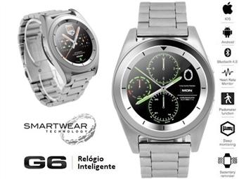 Relógio Inteligente G6 Prateado com Pulseira de Aço Inoxidável - SmartWear Technology with Style por 73€. ENVIO: 48H. PORTES INCLUIDOS.