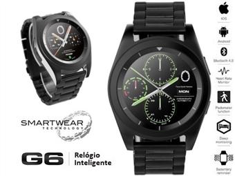 Relógio Inteligente G6 Preto com Pulseira de Aço Inoxidável - SmartWear Technology with Style por 73€. ENVIO: 48H. PORTES INCLUIDOS.