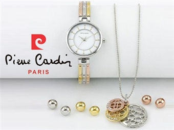 Conjunto Pierre Cardin Versatile Gold Rose Silver com Relógio, Colar e 3 Pares de Brincos por 42€. PORTES INCLUÍDOS.