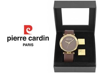 Conjunto Pierre Cardin Classic Brown Gold com Relógio e 2 Botões de Punho por 49€. ENTREGA: 48H. PORTES INCLUÍDOS.