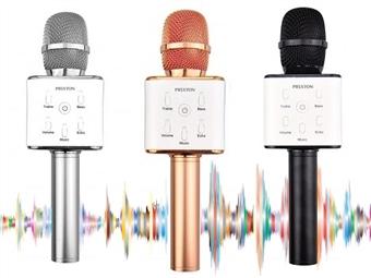 Microfone para KARAOKE com Bluetooth, Colunas Integradas e 3 Cores à Escolha por 24.90€. Desfrute da sua música em qualquer lugar. PORTES INCLUÍDOS.