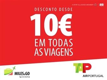 TAP - Desconto Mínimo de 10€ em Todas as Viagens.