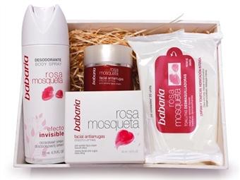 Caixa Rosa Mosqueta da BABARIA com Creme Facial Anti-Rugas 50 ml, Desodorizante Spray 200 ml e 20 Toalhetes por 16€. ENVIO IMEDIATO e PORTES INCLUIDOS.
