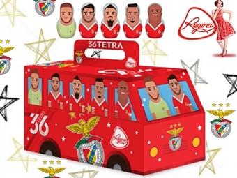1 ou 2 Autocarros do Benfica da REGINA desde 7.50€ com 14 figuras de chocolate com 5 grafismos alusivos a jogadores. ENVIO IMEDIATO e PORTES INCLUÍDOS.