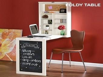 Secretária de Parede Dobrável por 135€. Um quadro de notas transforma-se numa secretária, estantes e muito mais. PORTES INCLUIDOS.