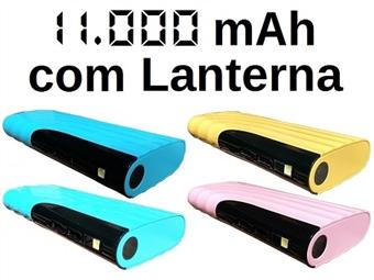 Power Bank 11000 mAh com 4 Cores à Escolha: Carrega 2 Smartphones ou Tablets em Simultâneo por USB com 1 Lanterna Integrada por 22€. PORTES INCLUÍDOS.