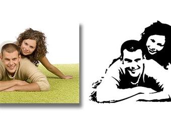 Silhueta em Vinil Autocolante Adesivo Decorativo de 70x50cm para Superfícies Lisas por 24€. Transforme a sua foto ou imagem! PORTES INCLUÍDOS.