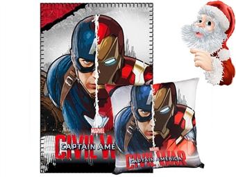 Manta e Almofada Capitão América e Homem de Ferro por 22€. Produto Oficial. Recomendado pelo o Pai Natal. PORTES INCLUIDOS.