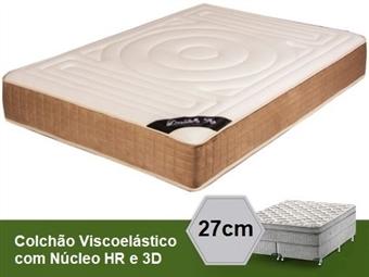 Colchão Viscoelástico Siena 3D Luxury Confort de Casal ou Solteiro com 27 cm de Altura, Núcleo HR e