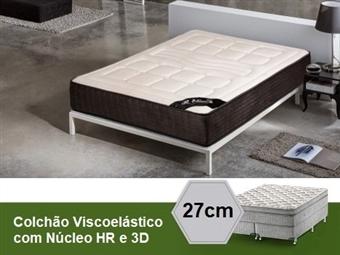 Colchão Viscoelástico Bari 3D Soft Touch de Casal ou Solteiro com 27 cm de Altura, Núcleo HR e