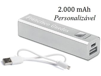 Power Bank 2000 mAh Personalizado com Gravação a Laser: Carrega Smartphones ou Tablets por USB por 12€. Um toque pessoal!